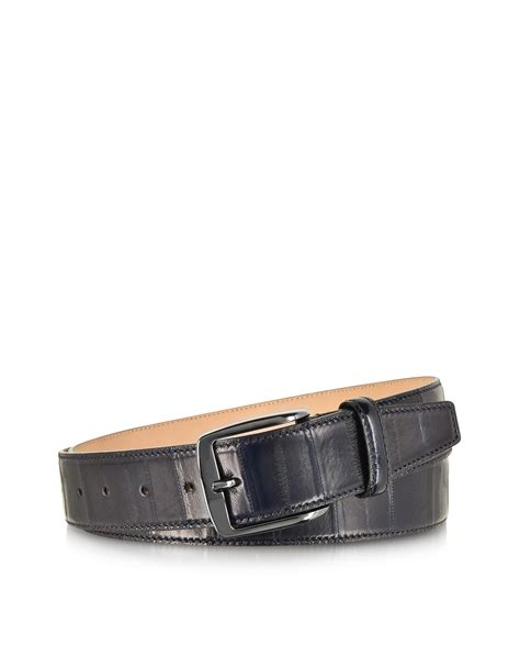 forzieri blue eel leather s belt in blue for lyst