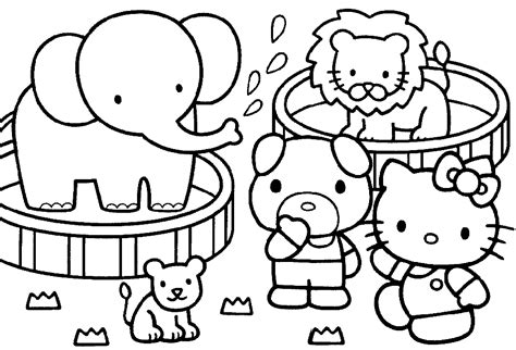 coloring pictures of hello kitty and her friends hello kitty and friends coloring page ハローキティhello kittyの