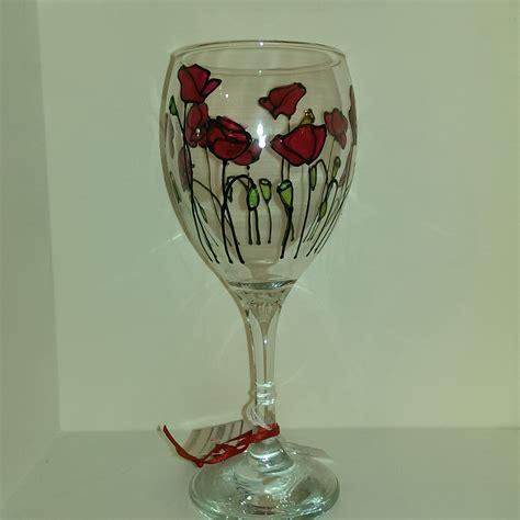 Unique Glassware Already Painted Poppy Wine Glass Unique Glasses
