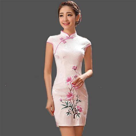 cheongsam dresses pink popular qipao buy cheap