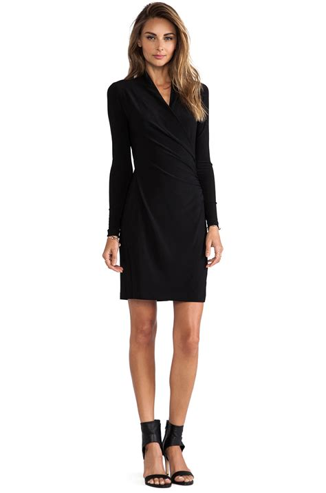 draped long sleeve dress norma kamali kamalikulture long sleeve side draped dress