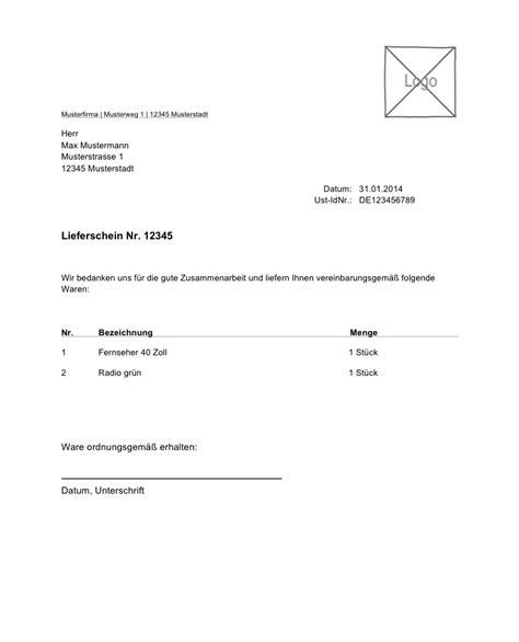 Schreiben Retoure Muster Lexoffice Kostenlose Vorlage Muster F 252 R Ihren Lieferschein