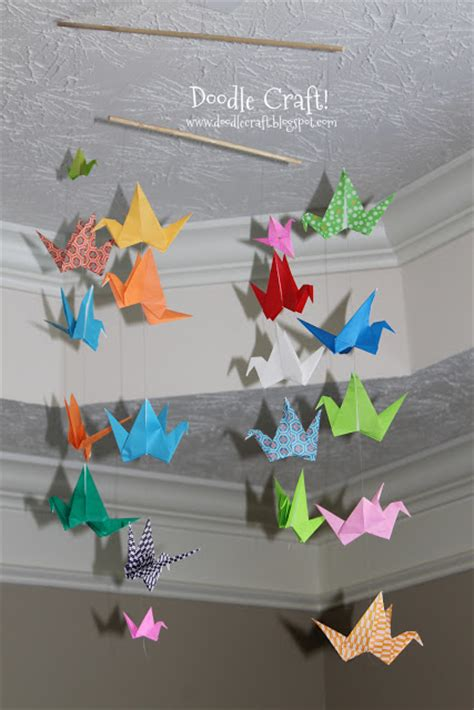 Paper Bird Crafts - craft origami flapping paper crane mobile