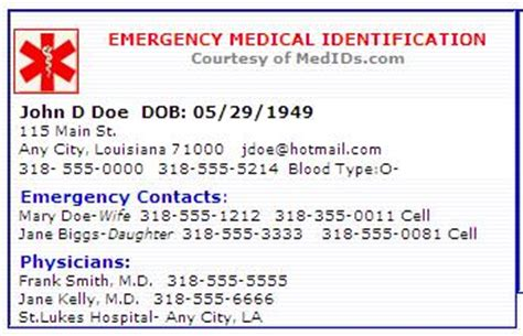printable emergency id cards frugal freebies free medication identification card all