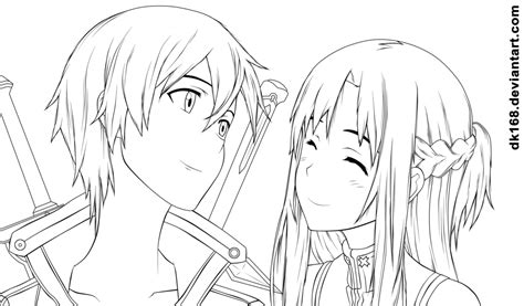 anime coloring pages sword art online kirito and asuna by dk168 on deviantart