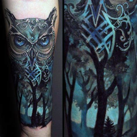 owl tattoo underarm owl blue ink forest tattoos for men on inner forearm