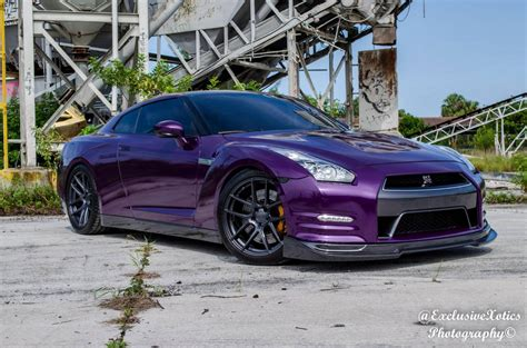 Purple Nissan Gt R Lowered On Velgen Wheels Gtspirit