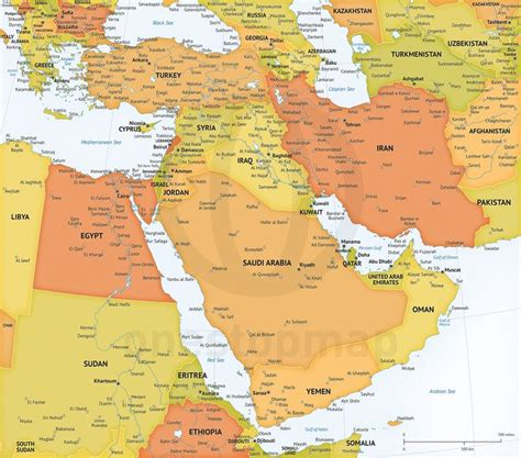 middle east map of countries and capitals printable and editable vector map of middle east political