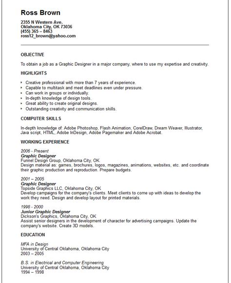 resume exles graphic designer creative arts and graphic design resume exles