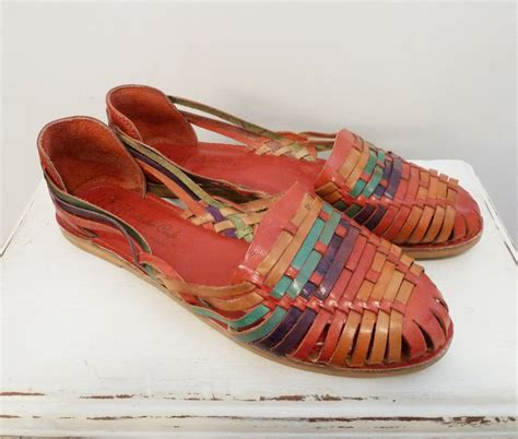 mexican shoes vintage mexican colorful leather huarache sandals shoes 11 m