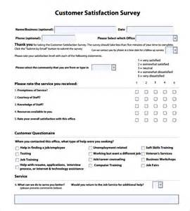 Customer Service Survey Questions Template by Customer Satisfaction Survey Templates 7 Sles