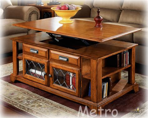 solid wood lift up top coffee table with door shel the