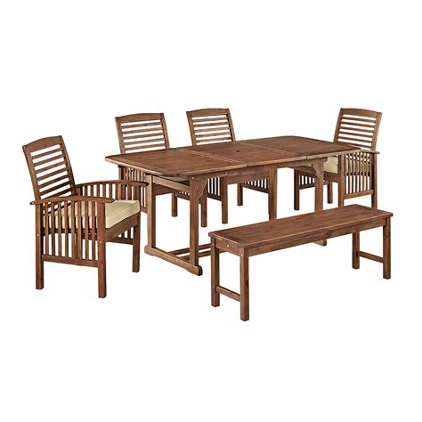 Lawn Chair Usa Promotion Code by 6 Brown Acacia Patio Dining Set With Cushions
