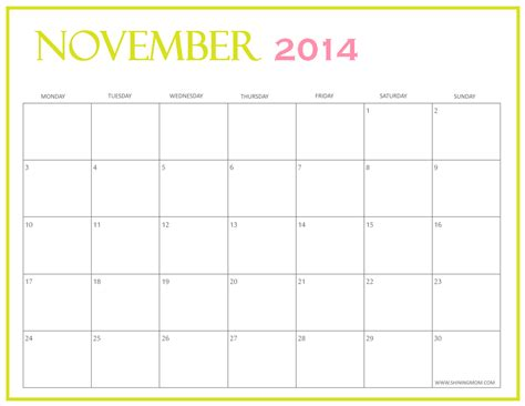 printable monthly calendar november 2014 free printable november 2014 calendars by shining mom