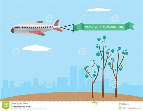 Green Colored Houses vector illustration of a airplane with banner stock