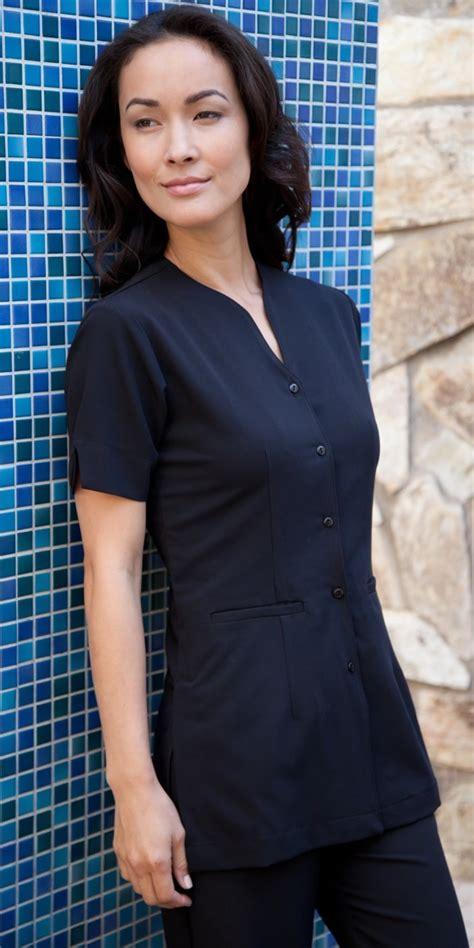 17172 Black White Grid L Xl Blue Xl Sale Dress stretch tops spa uniforms