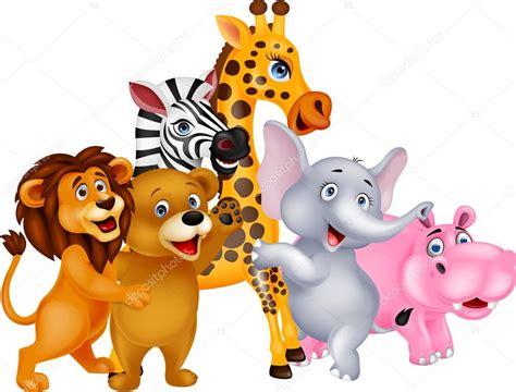 imagenes animales jpg dibujos animados de animales salvajes posando vector de