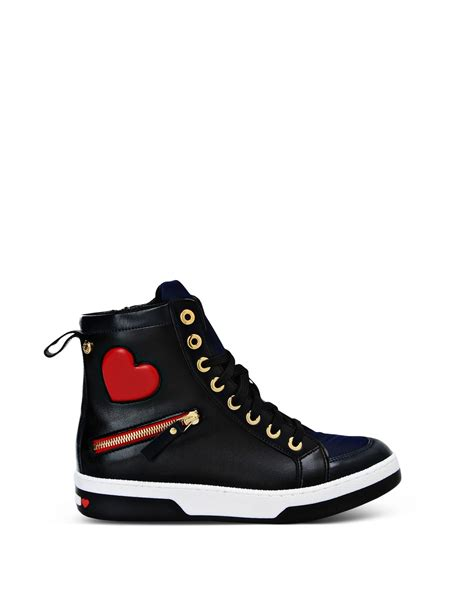 womens black chion sneakers moschino sneakers in black lyst