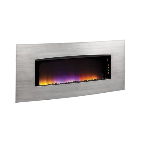 Wall Electric Fireplace Duraflame Transcendence 34 In Wall Hanging Electric Fireplace In Brushed Aluminum Finish