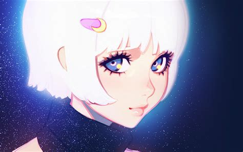 ax ilya kuvshinov illustration art girl dark white hair