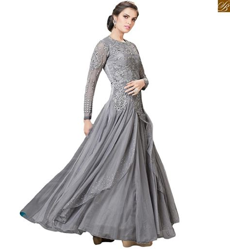 net pattern gown stylish evening gowns with sleeves
