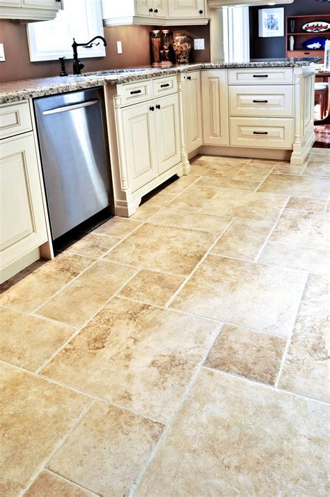 Kitchen Floor Tiling Ideas by Square And Rectangle Cream Tile Kitchen Floor With White Wooden Cabinet Having Gray Marble