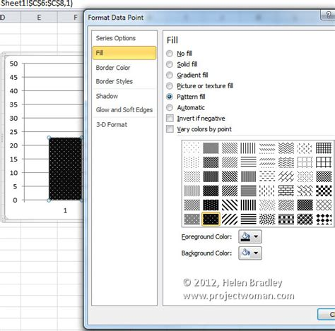 pattern printing exles pattern fills for your excel 2007 charts 171 projectwoman com