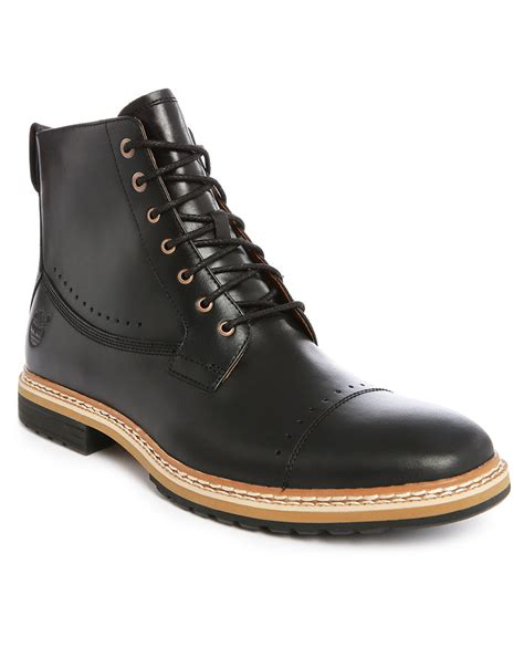 black boots for timberland lace up leather ankle boots in black for lyst
