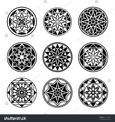 geometric round tattoo mandala tattoo icons set geometric round stock vector