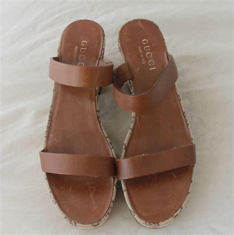 Sandal Gucci Fashion Murah gucci brown monogram wedge sandal 6 at 1stdibs