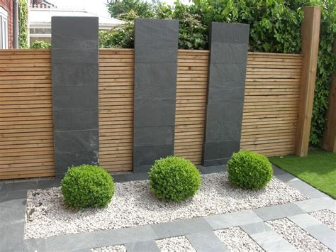 patio fence designs black slate flagstones modern patio landscaping