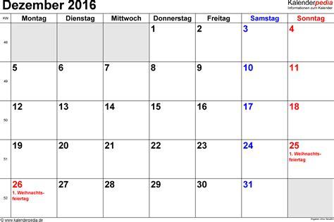 Kalender 2016 Dez Kalender Dezember 2016 Als Excel Vorlagen