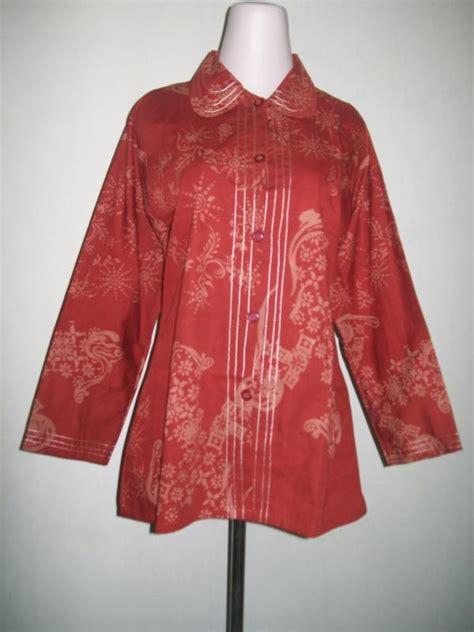 Kemeja Katun Wanita Batik Ruffles Unik Lengan Panjang Bpa24 distributor baju batik cap lengan panjang muslim bahan