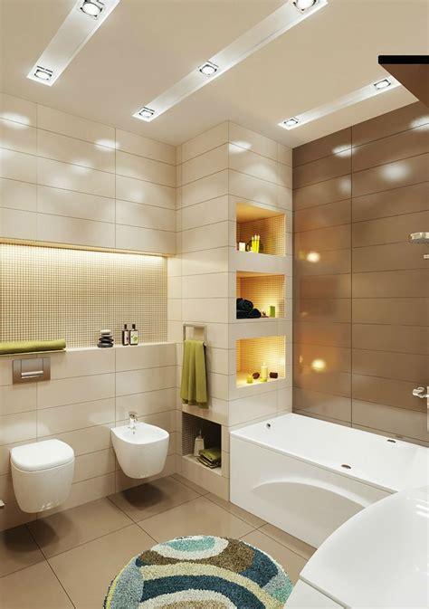 badezimmerrenovierung idee badezimmer kleines beleuchtung idee einbauregal indirekt