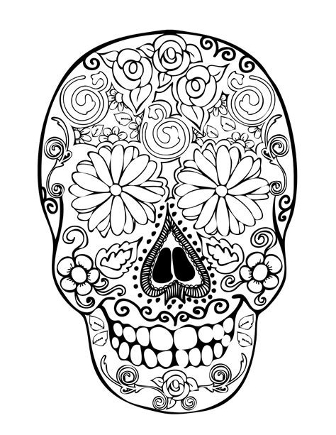 coloring pages of skulls for day of the dead day of the dead coloring pages for adults sugar skull
