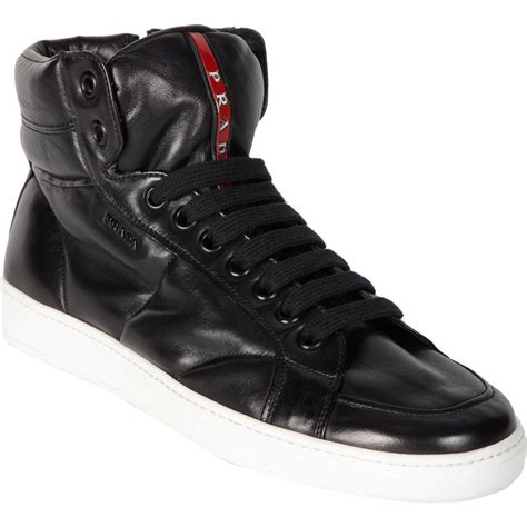 mens high top black sneakers prada high top sneakers in black for lyst