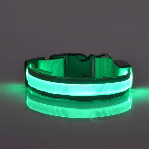 dog collars with lights for night adjustable led reflective dog cat pet night safety