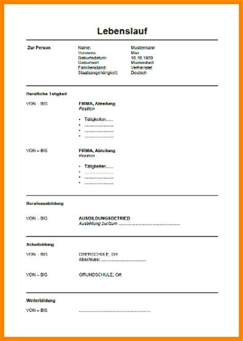 Tabellarischer Lebenslauf Vorlage Zum Ausfüllen 6 Lebenslauf Vordruck Zum Ausf 252 Llen Resignation Format