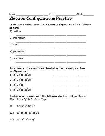 Electron Configuration Practice Worksheet Answers by Electron Configuration Answer Key