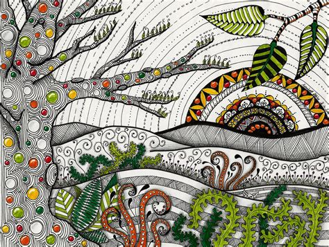 pattern landscape art zentangle landscape by leasikora on deviantart