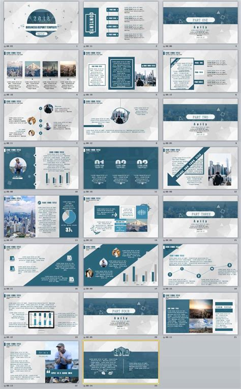 23 blue business report professional powerpoint templates