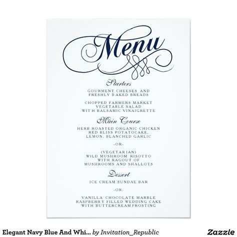 5x6 5 card template navy blue and white wedding menu templates 4 5x6
