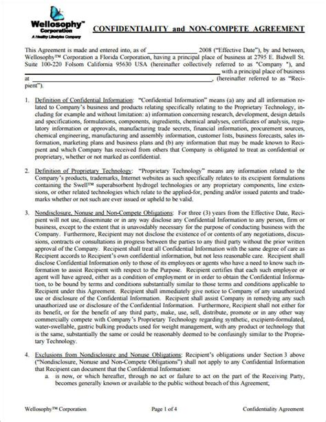 confidentiality and non compete agreement template 7 non compete agreements free word pdf sles