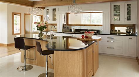 curved island kitchen designs shaker kitchen with curved island from harvey jones