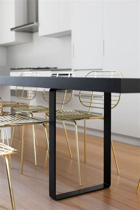 Kitchen Table Black This Modern Kitchen Update Received Touches Of Black And Gold Contemporist