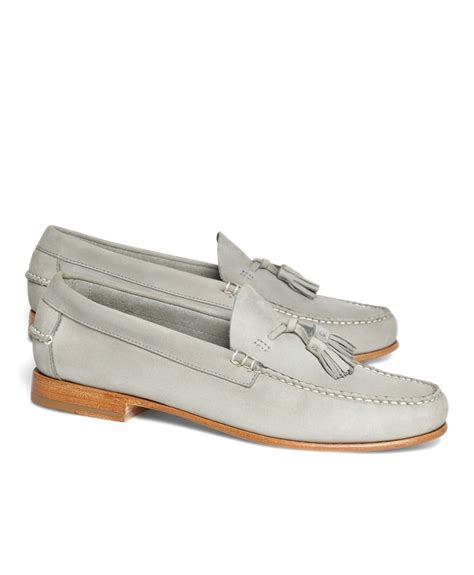 grey loafers for brothers nubuck tassel loafers in gray for