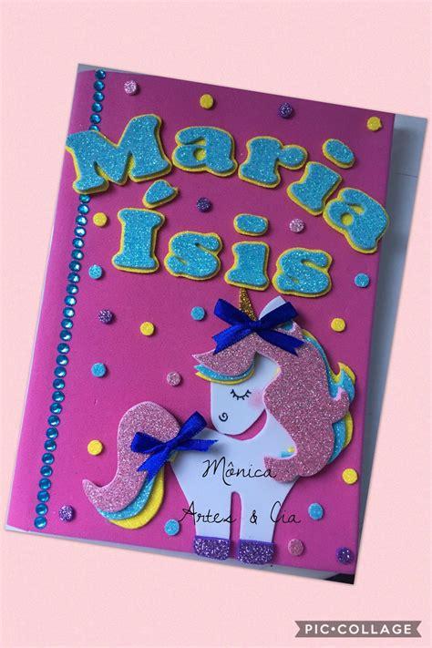 cuadernos decorados de unicornio con foami cuadernos carpetas creativas pinterest libretas
