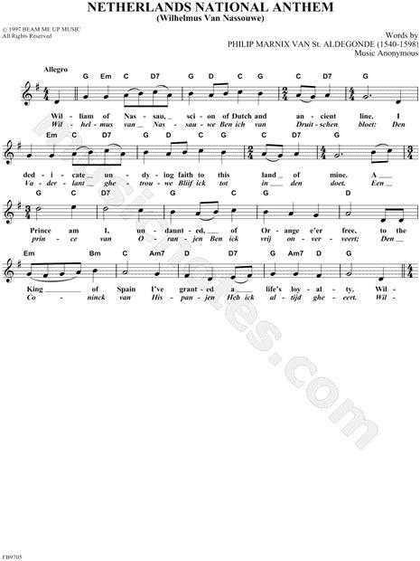 "Anonymous ""Netherlands National Anthem"" Sheet Music"