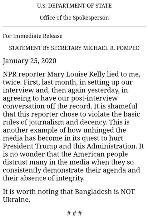 Mike Pompeo Blasts NPR Reporter Mary Louise Kelly For