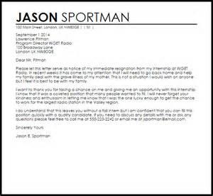 Pastor Resignation Letter Sle by Internship Resignation Letter Resignation Letters Livecareer
